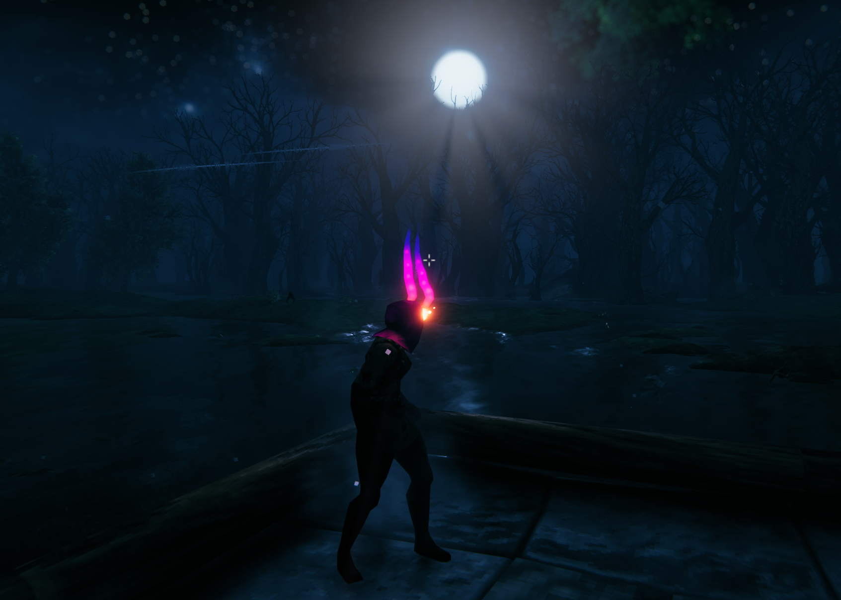 Viking wearing incredibly cool glowing helm, sillhouetted by the moon