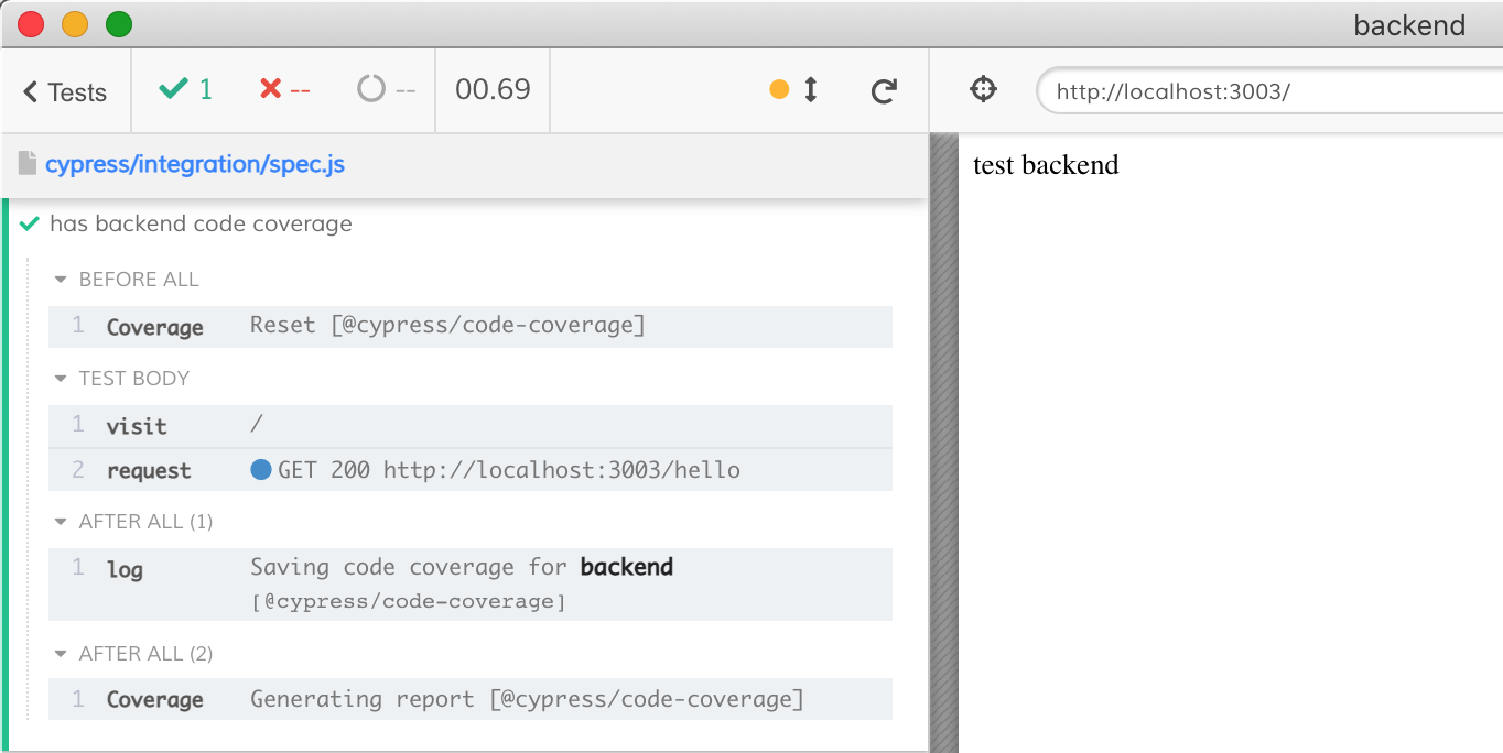 Cypress knows to expect the backend code coverage only