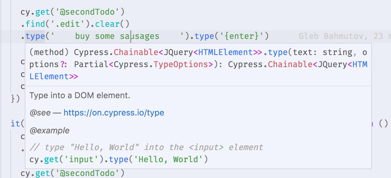 cy.type IntelliSense