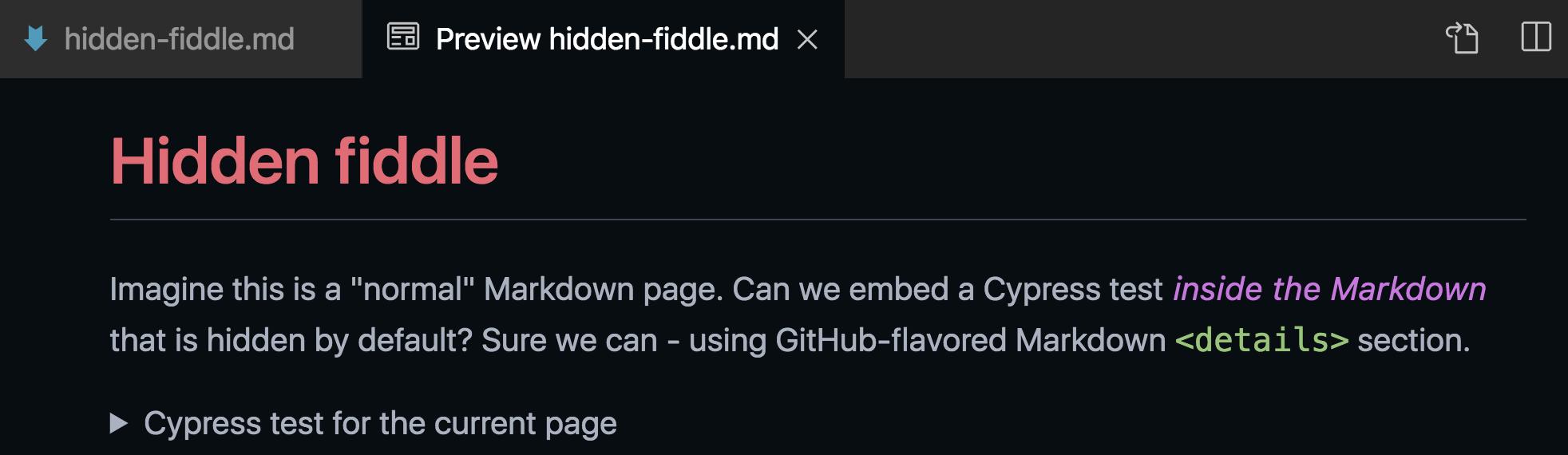 Hidden fiddle Markdown preview