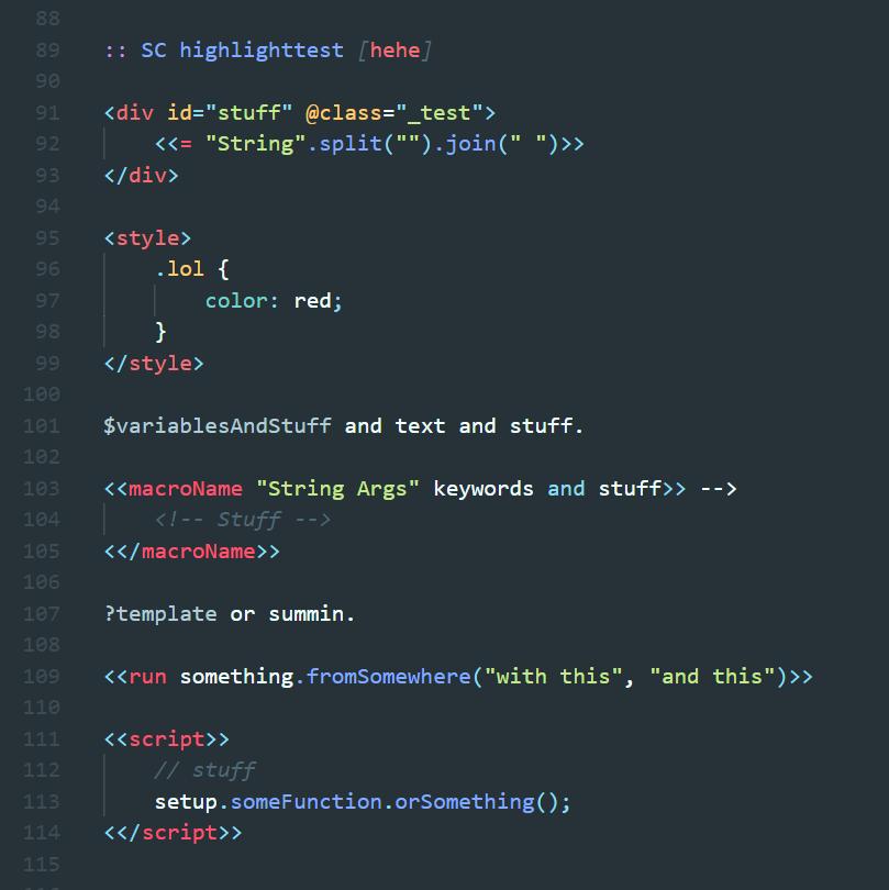 SugarCube syntax