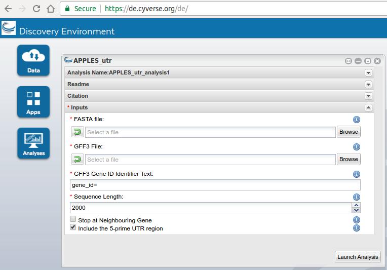 Screenshot of APPLES_utr on CyVerse DE
