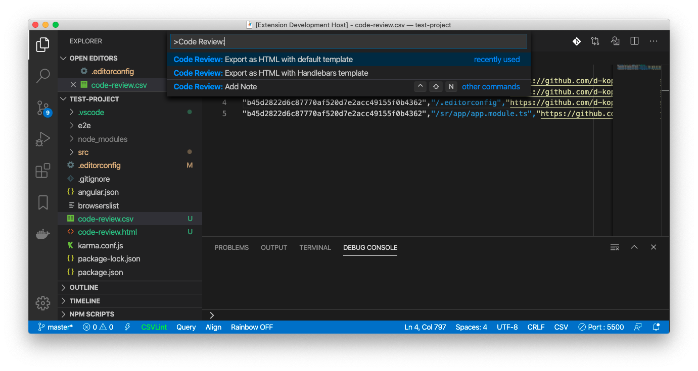 Code Review: Export as HTML