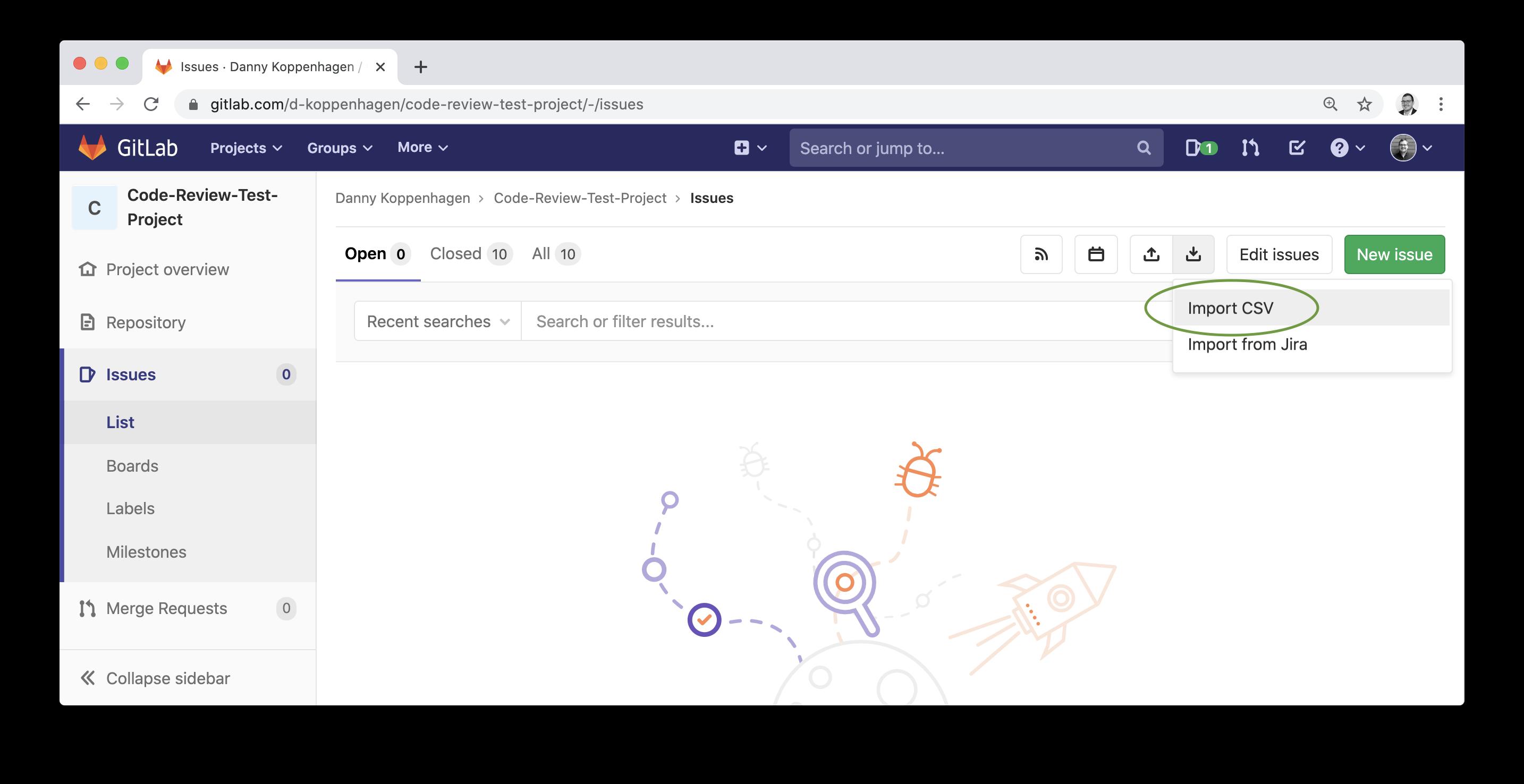 GitLab import CSV file