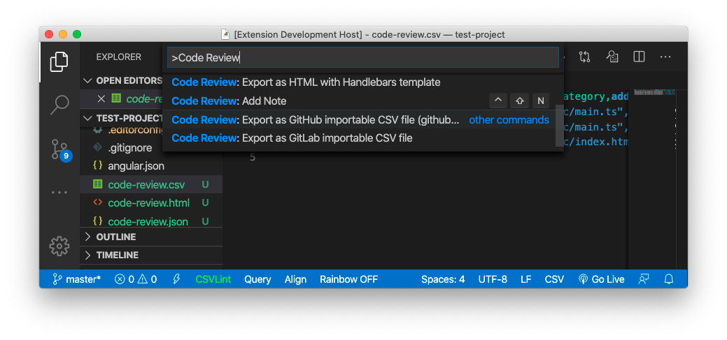 Code Review GitLab importable CSV export