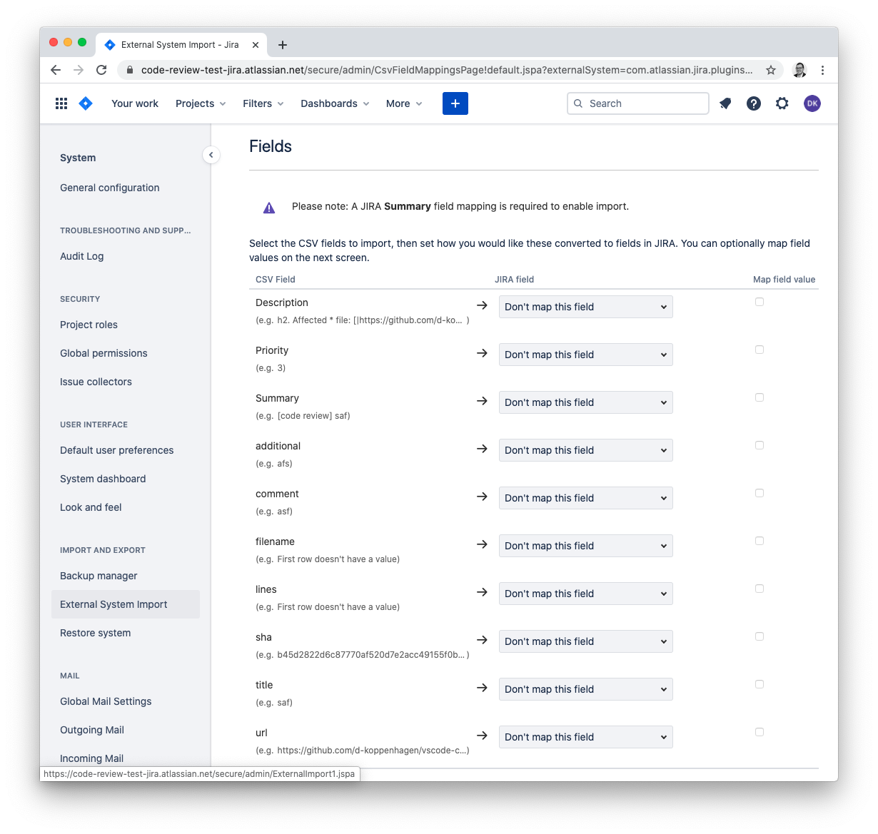 JIRA: map CSV file props