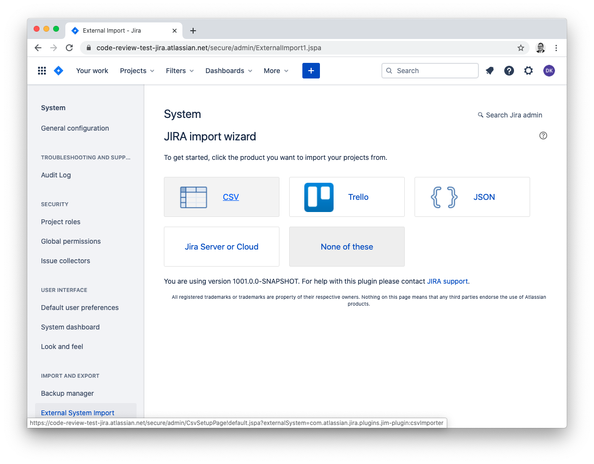 JIRA: import issues from a CSV file