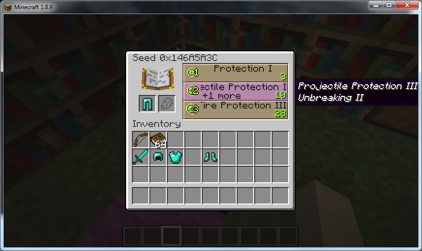 Screenshot with seed revealed