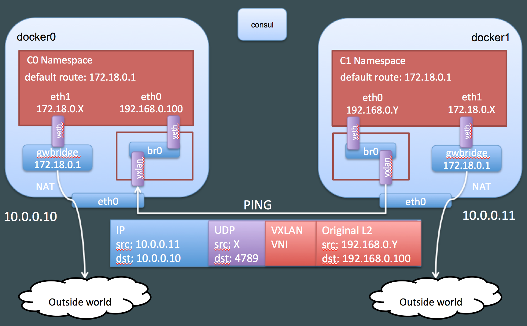 Connectivity with VXLAN packet