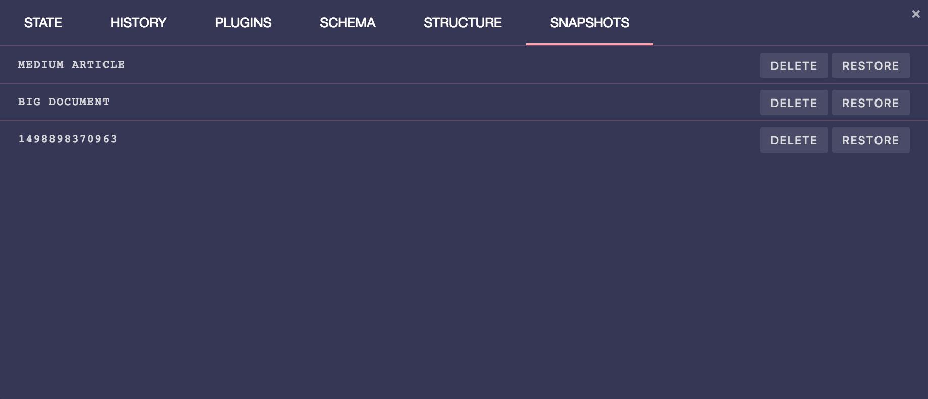 prosemirror-dev-tools snapshots tab