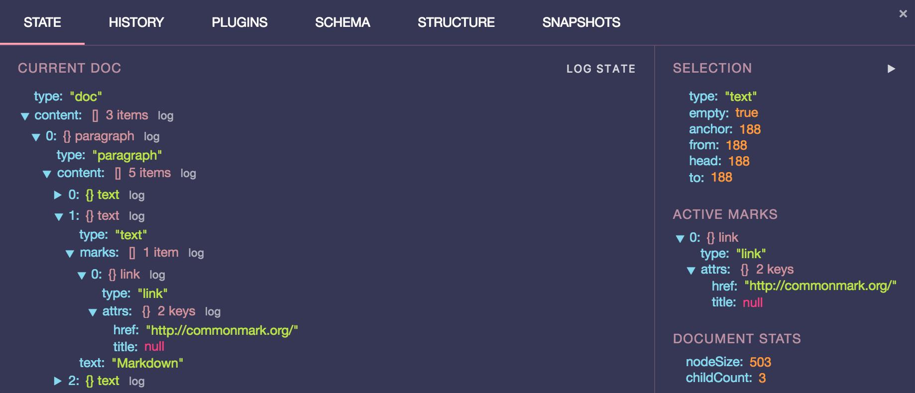 prosemirror-dev-tools state tab