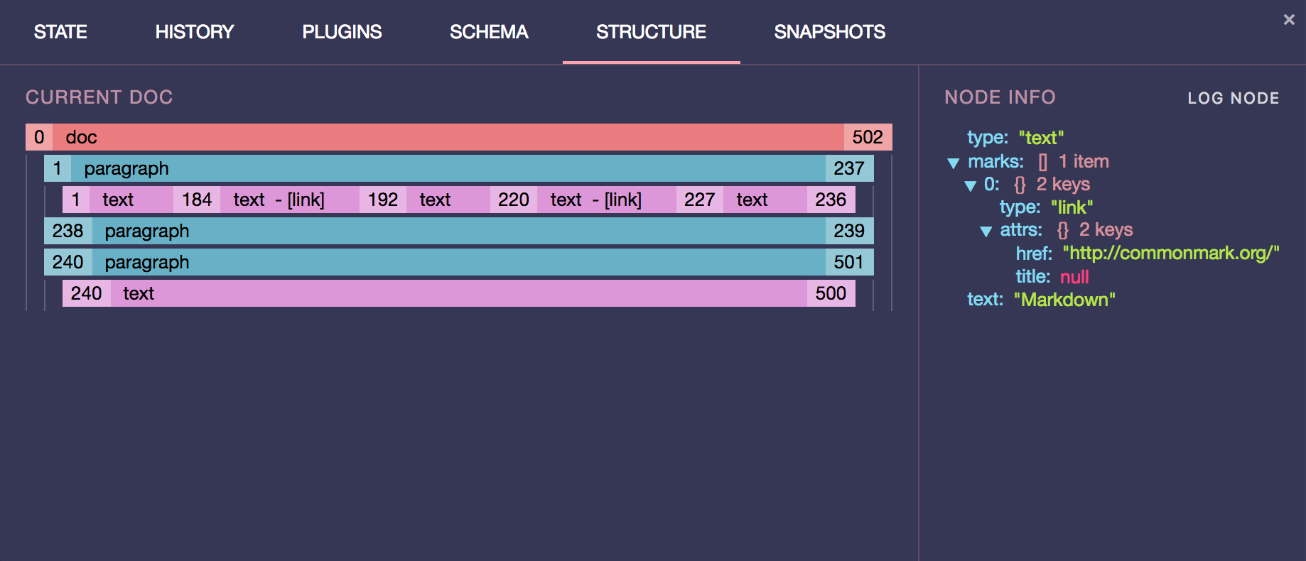 prosemirror-dev-tools structure tab