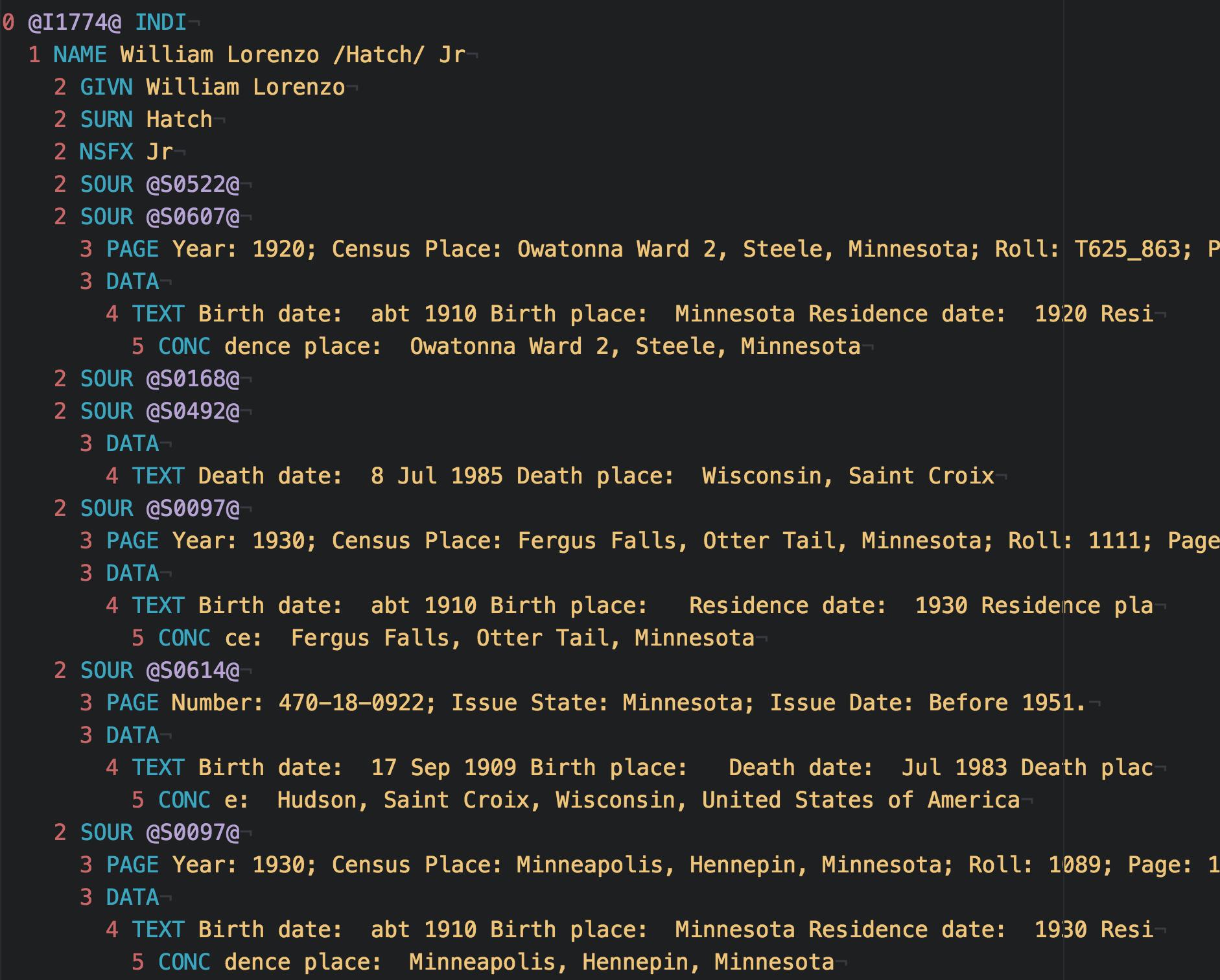 A screenshot of gedcom-theme-syntax used with gedcom-grammar