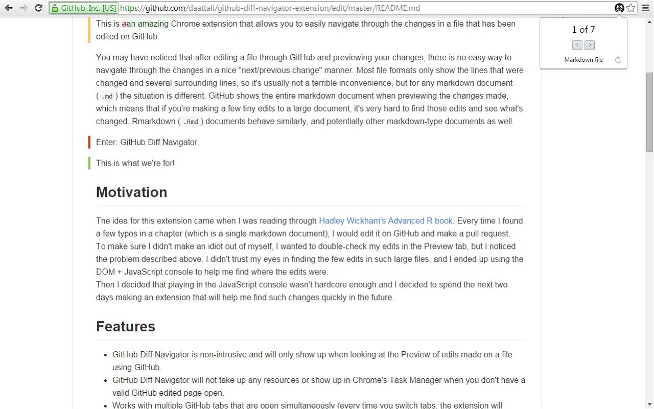 GitHub Diff Navigator screenshot