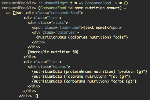 JSX syntax-highlighted