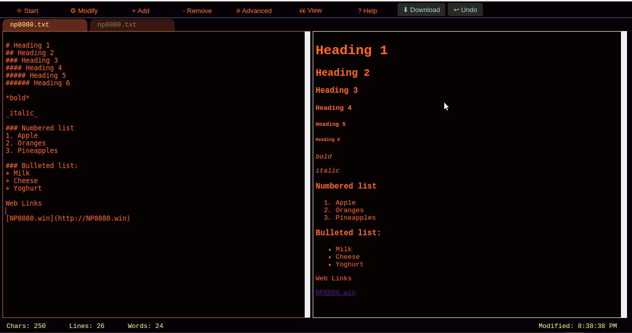 NP8080 Screenshot