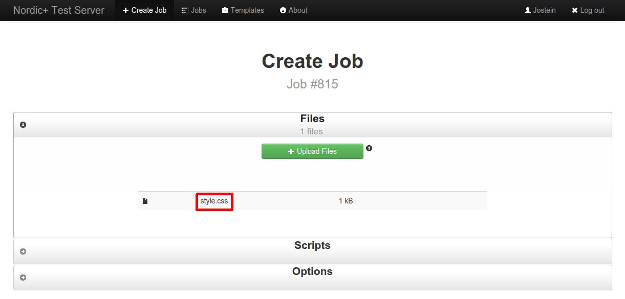 screenshot of file upload widget after having uploaded a css file