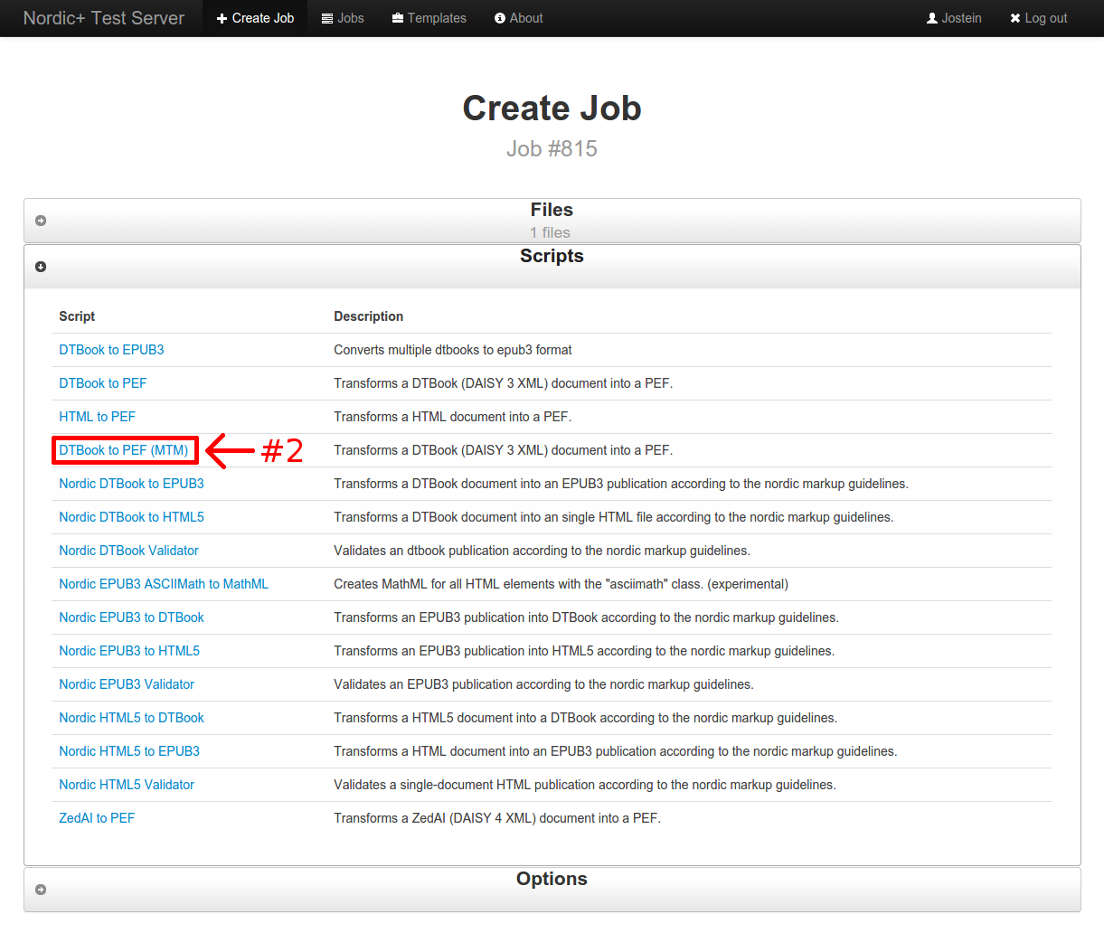 screenshot of the script listing when creating a job