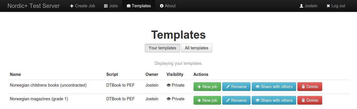 screenshot of listing your templates