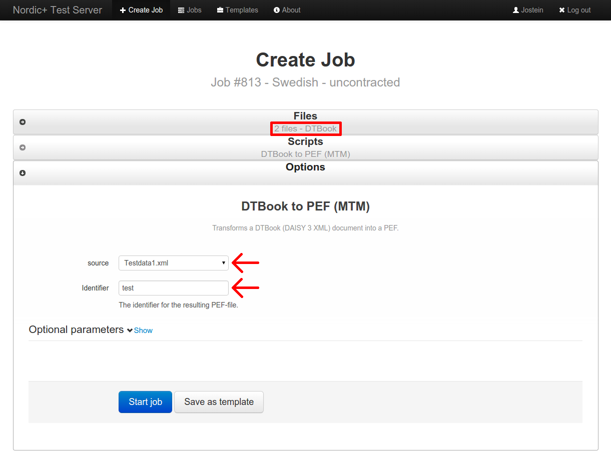 screenshot of mandatory jobs form for the DTBook to PEF (MTM) script