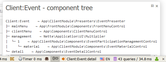 Component model panel