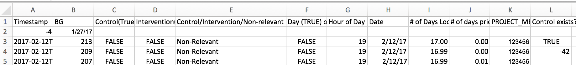 Example output file with mock data and formulas embedded for calculating these other fields