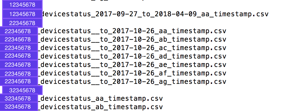 Example from command line output of howmuchdevicestatusdata.sh