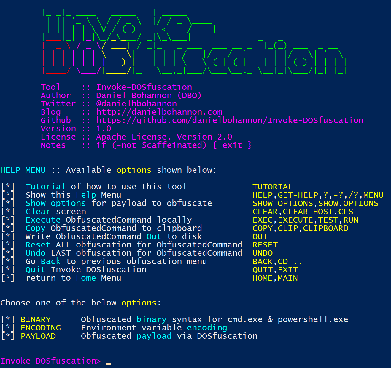 Invoke-DOSfuscation Screenshot