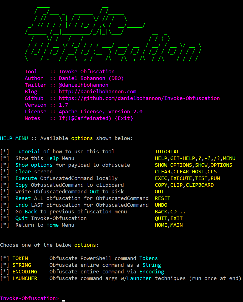 Invoke-Obfuscation Screenshot