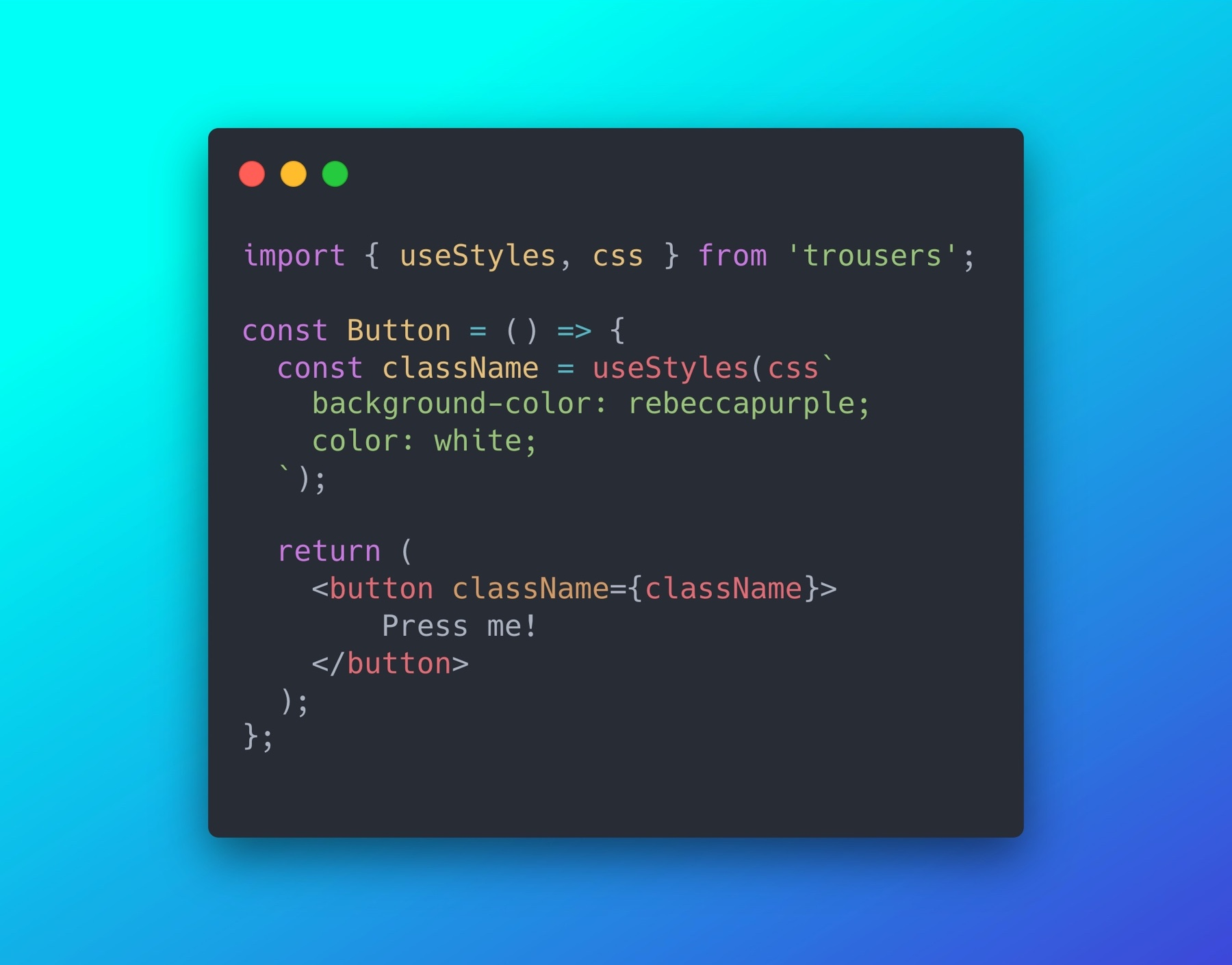 Trousers, a little library for CSS-in-JS, without the mess