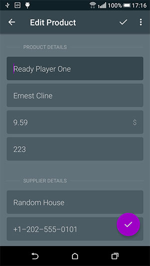 Inventory App Editor Screen