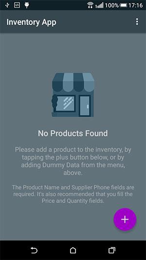 Inventory App Empty Screen