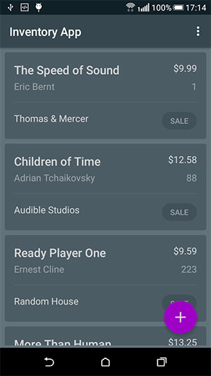 Inventory App Main Screen