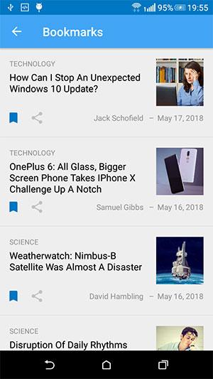 News App Bookmarks Screen