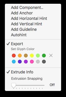 Extrude tool contextual menu
