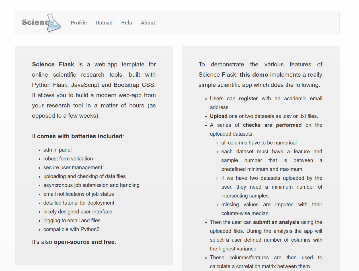 Science Flask main page