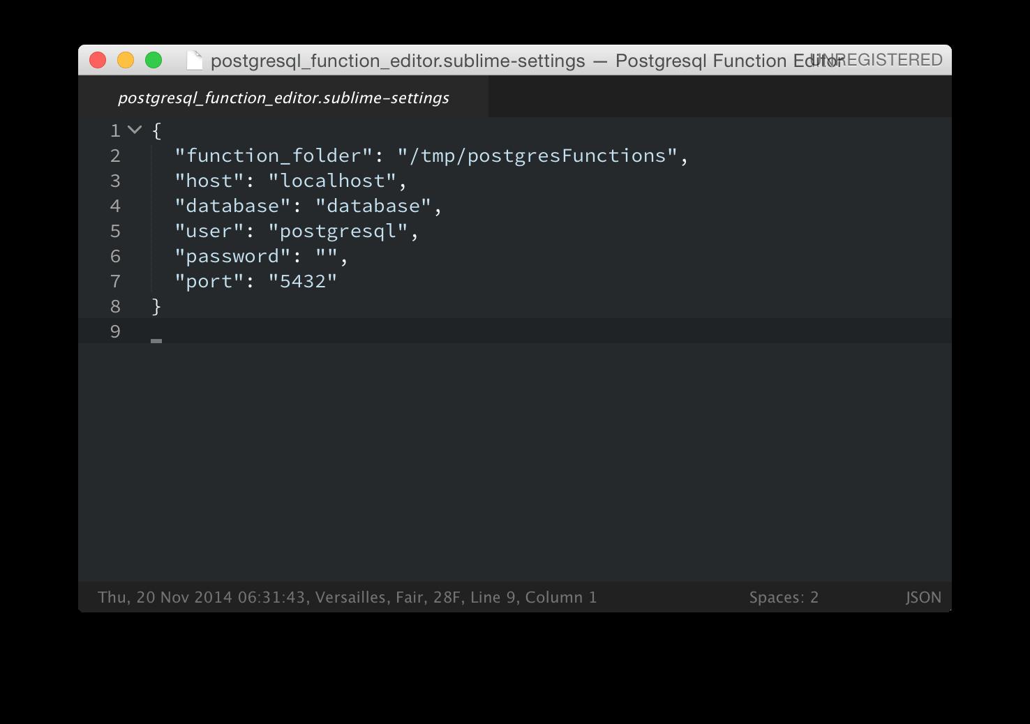 Sample Database Info File