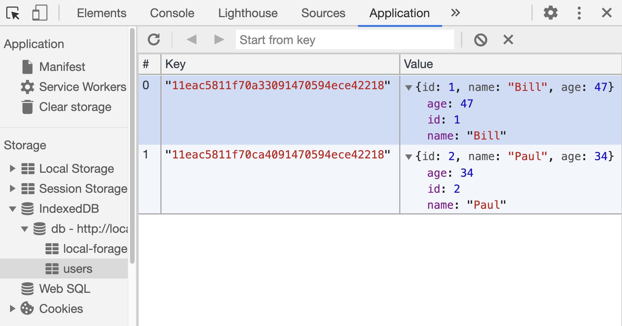 IndexedDB Store - Keys