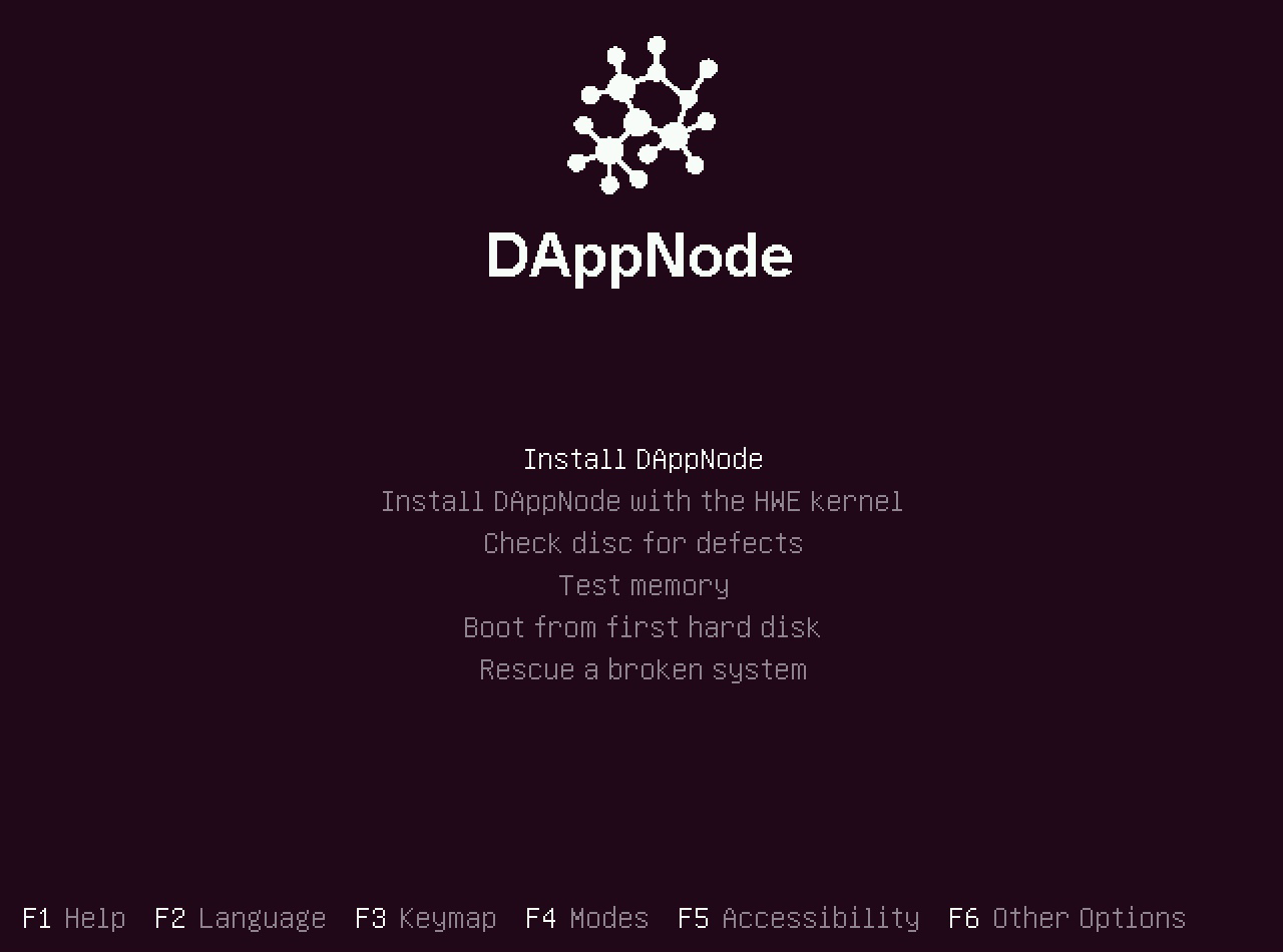 DAppNode installation welcome screen