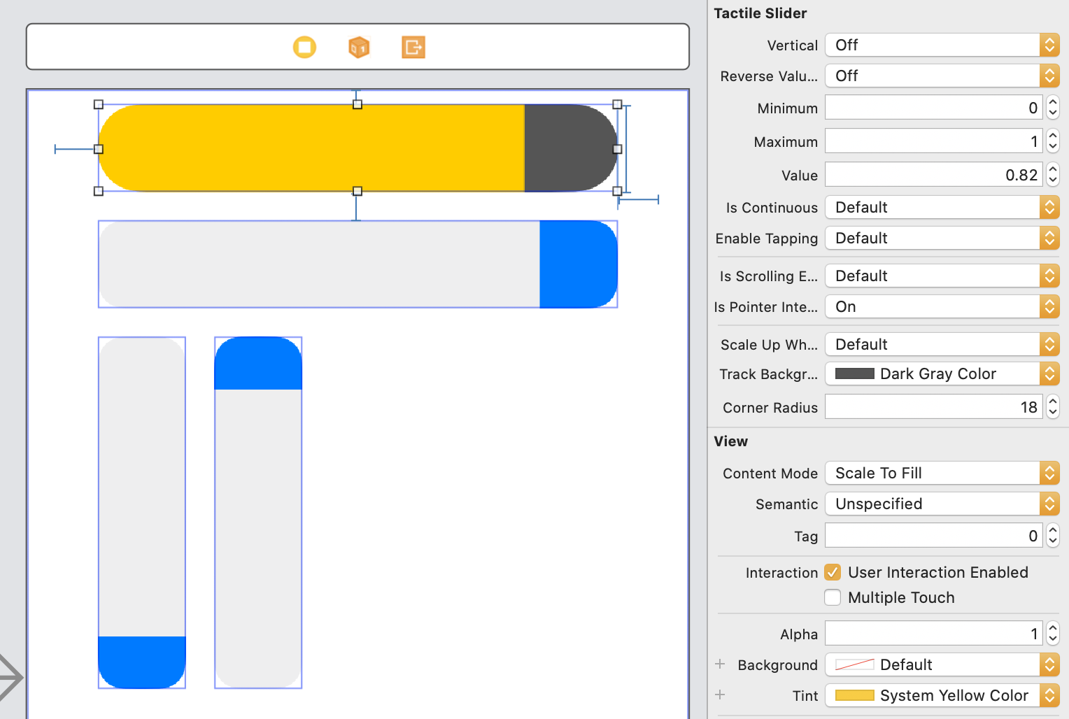 screenshot of Xcode Interface Builder demonstrating a TactileSlider being customized using the graphical interface