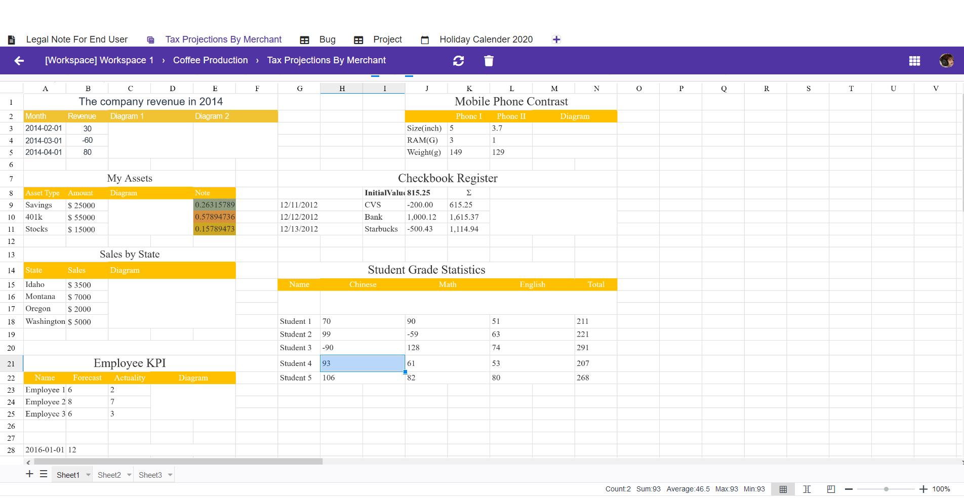 spreadsheet editor