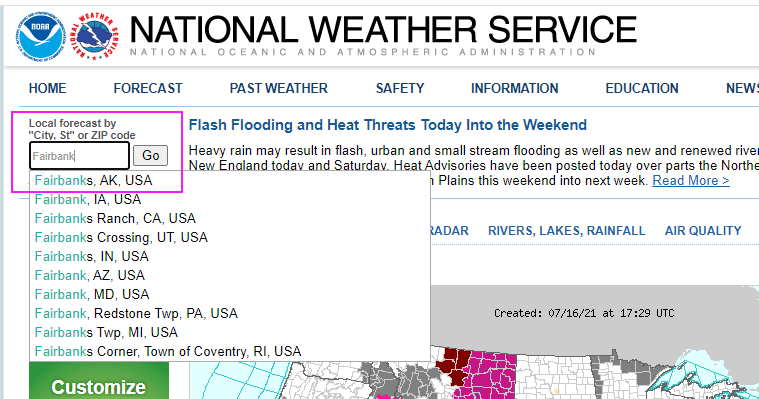 Search box on weather.gov