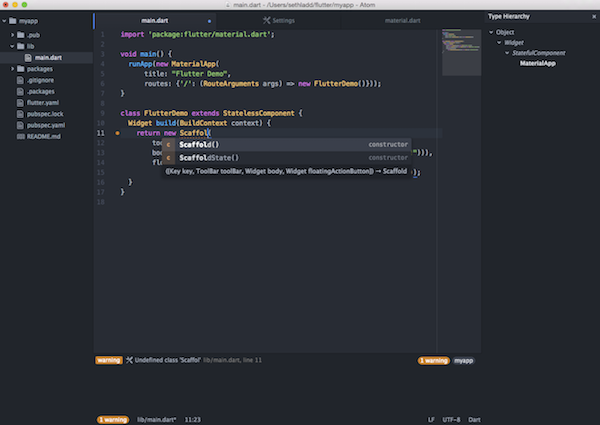 Dart plugin for Atom screenshot
