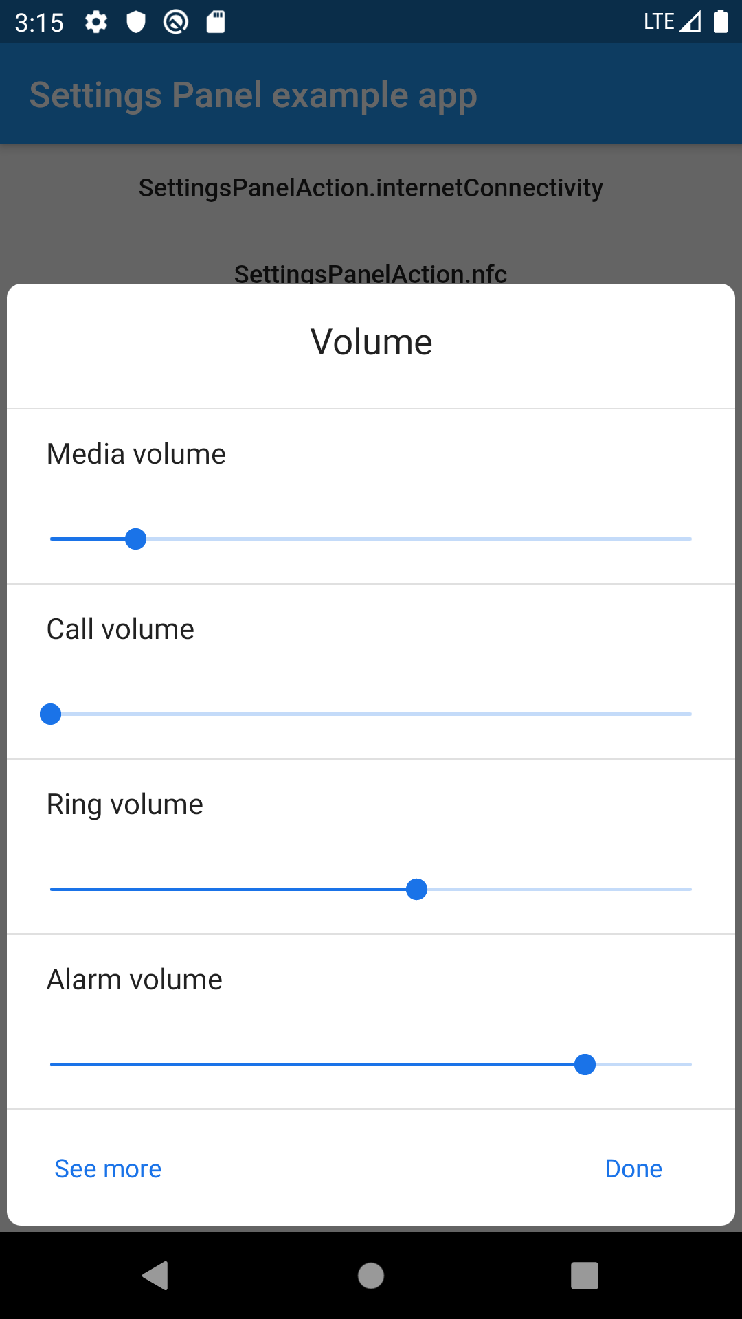 Flutter plugin settings_panel_android - Example app Volume panel