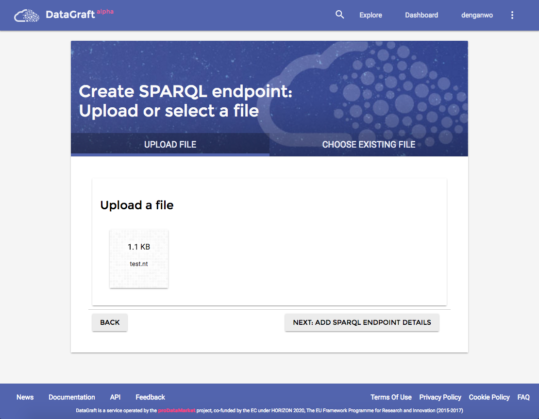 Create SPARQL endpoint: Upload or Select a file