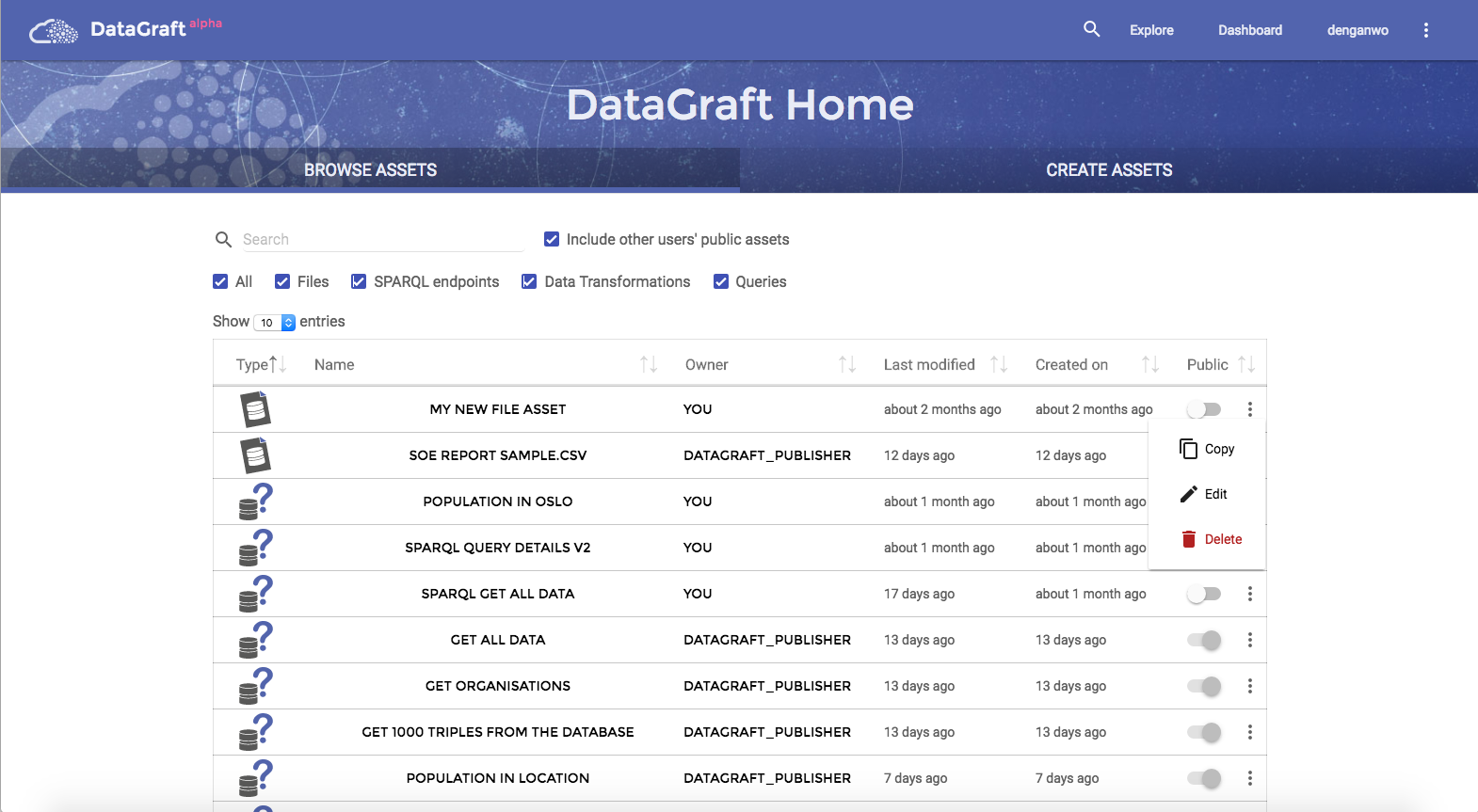 DataGraft Homepage Browse Assets
