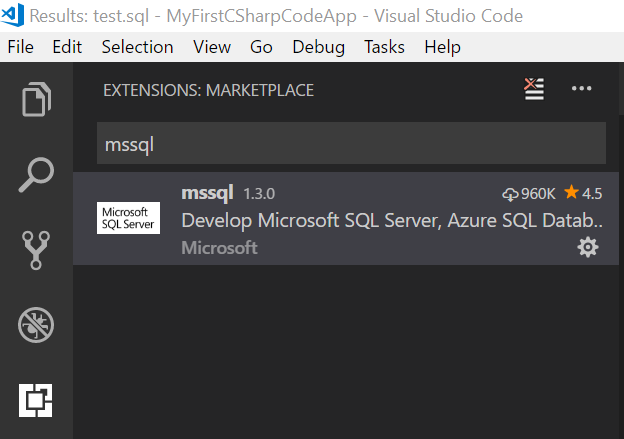 mssql extension result