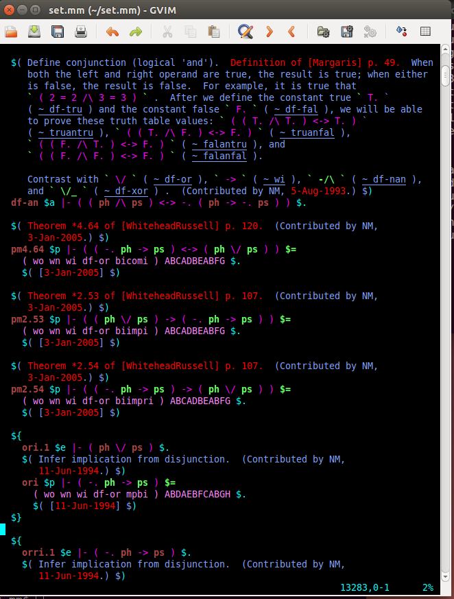 GVim metamath screenshot