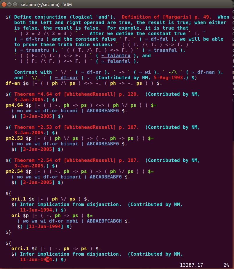 Vim metamath screenshot
