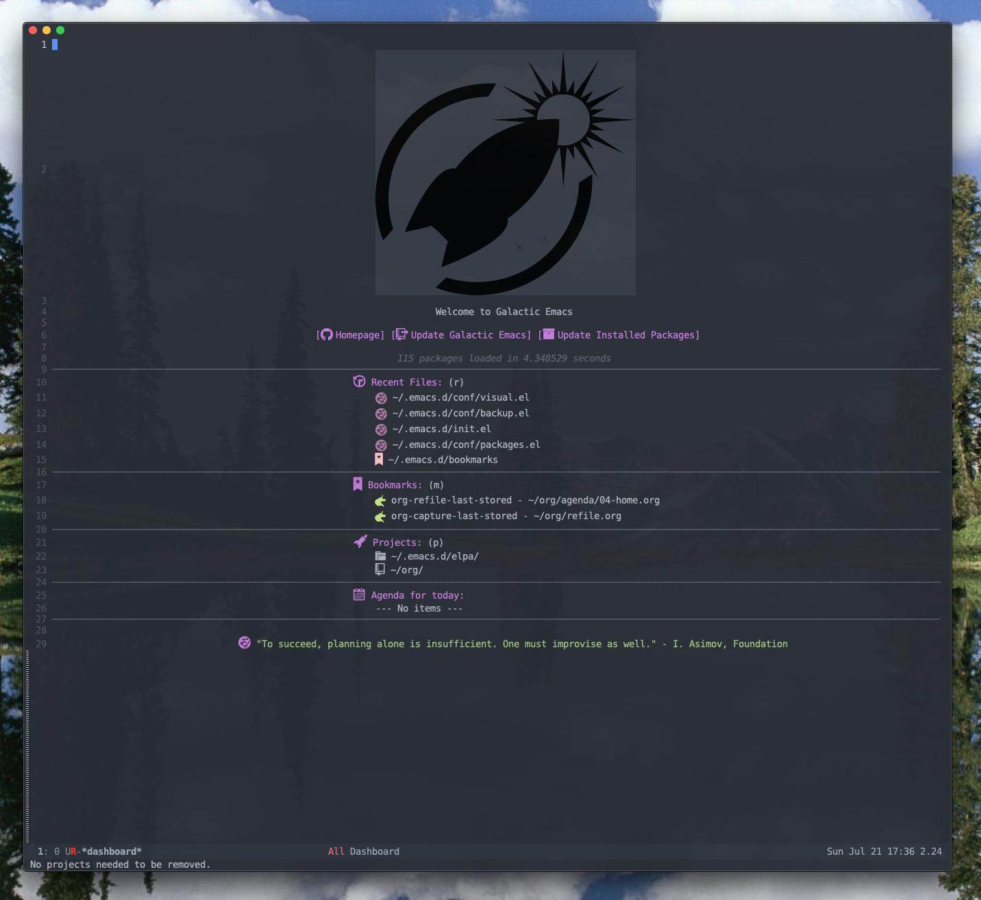Emacs dashboard